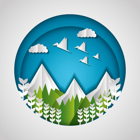 snowy mountains birds flowers paper origami landscape vector illustration