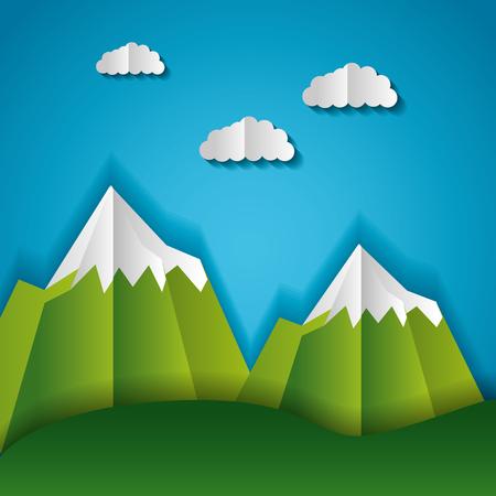 mountains peaks clouds paper origami landscape vector illustration