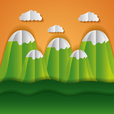 mountains meadow clouds paper origami landscape vector illustration Illustration