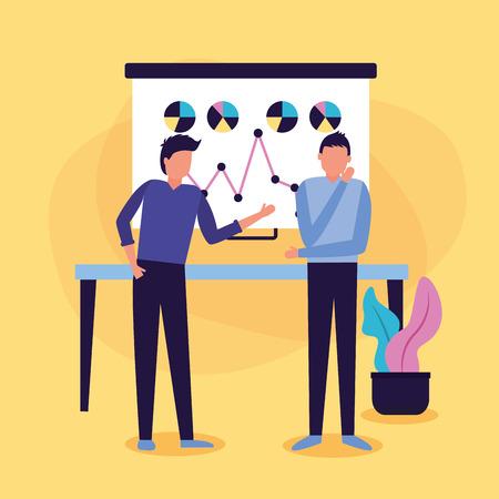 two man board presentation chart business work vector illustration Ilustração