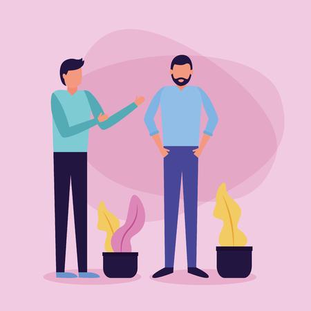 two men talking plant in pot vector illustration