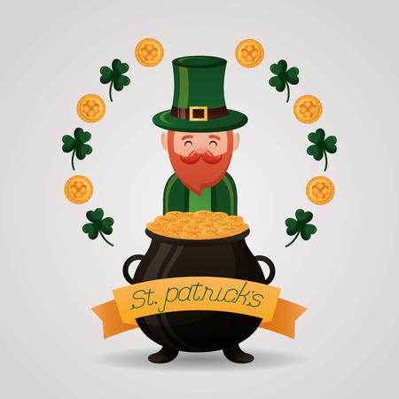 leprechaun with cauldron coins clovers happy st patricks day vector illustration Foto de archivo - 124861162