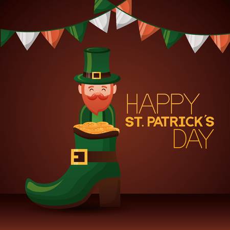 leprechaun boot coins happy st patricks day vector illustration Çizim
