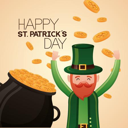falling gold coins leprechaun happy st patricks day vector illustration