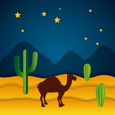 camel desert night stars paper origami landscape vector illustration