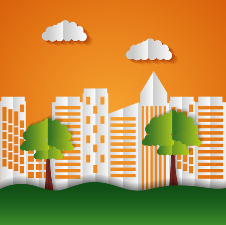 buildings trees paper origami cityscape vector illustration Illustration