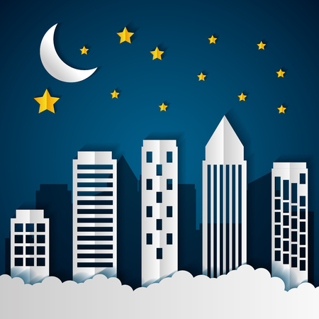 buildings night stars paper origami cityscape vector illustration