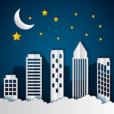 edificios, noche, estrellas, papel, origami, paisaje urbano, vector, ilustración