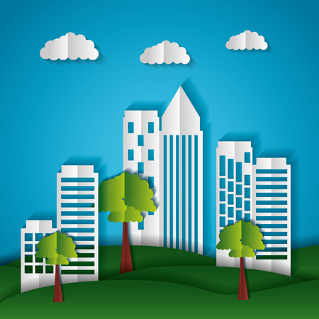 buildings trees sky paper origami cityscape vector illustration Stock Vector - 124861169