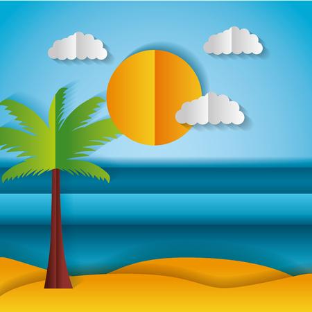 beach palm sun paper origami landscape vector illustration