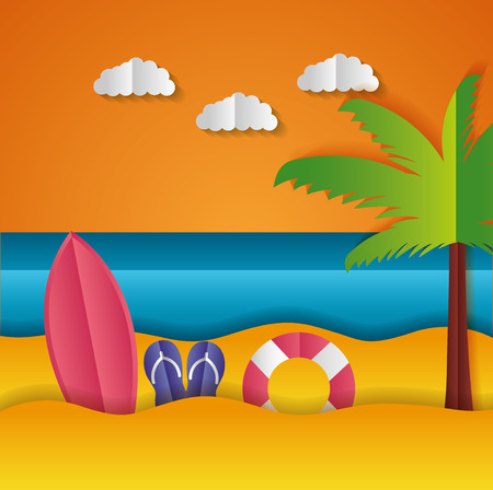 surfboard sandals float palm paper origami landscape vector illustration 向量圖像