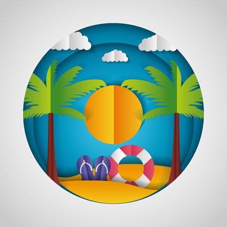 sandals lifebuoy sun palms paper origami landscape vector illustration Stockfoto - 124861174