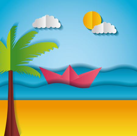 boat pam tree ocean paper origami landscape vector illustration