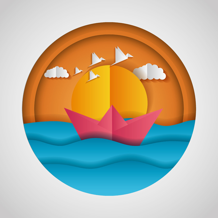 boat sun birds paper origami landscape vector illustration