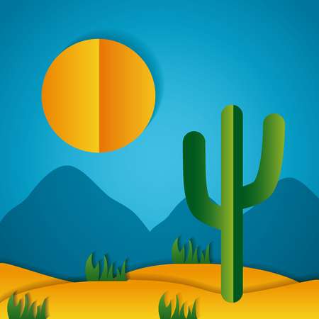 desert cactus sun paper origami landscape vector illustration