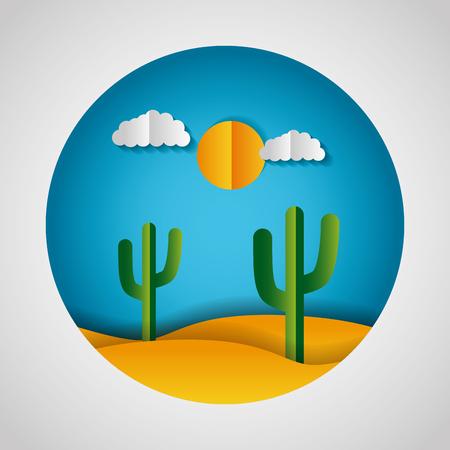 desert cactus sun sky paper origami landscape vector illustration