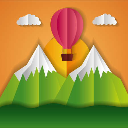 hot air balloon mountains paper origami landscape vector illustration