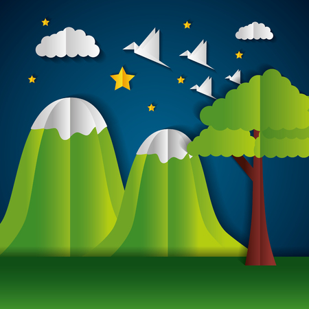 mountains tree birds paper origami landscape vector illustration