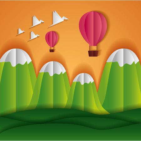 mongolfiera montagne uccelli carta origami paesaggio illustrazione vettoriale