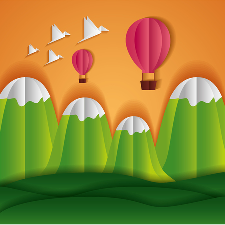 montgolfière, montagnes, oiseaux, papier, origami, paysage, vecteur, illustration