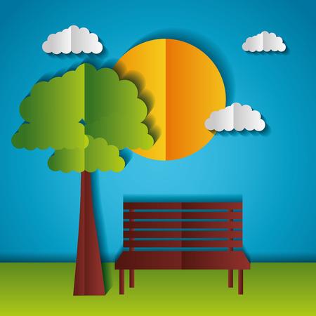 sun park bench tree paper origami landscape vector illustration