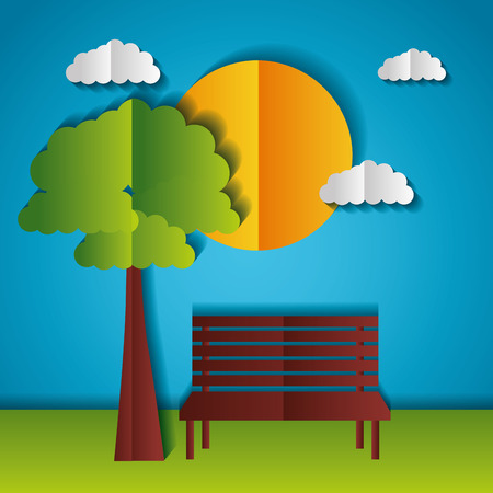 sun park bench tree paper origami landscape vector illustration