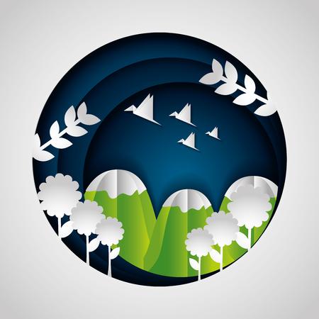 mountains flowers birds paper origami landscape vector illustration 向量圖像
