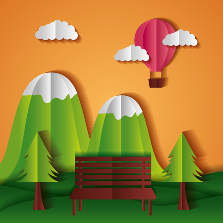 hot air balloon mountains bench tree paper origami landscape vector illustration Archivio Fotografico - 124861186