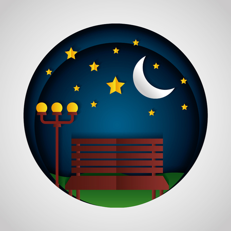 night park bench lamp moon paper origami landscape vector illustration Çizim