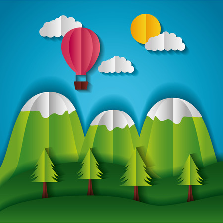 mountains trees and hot air balloon paper origami landscape vector illustration Illustration