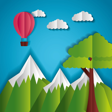 mountains tree and hot air balloon paper origami landscape vector illustration Çizim