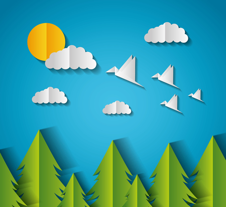 pine trees birds paper origami landscape vector illustration