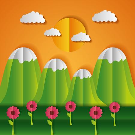 mountains and flowers sun paper origami landscape vector illustration Archivio Fotografico - 124861199