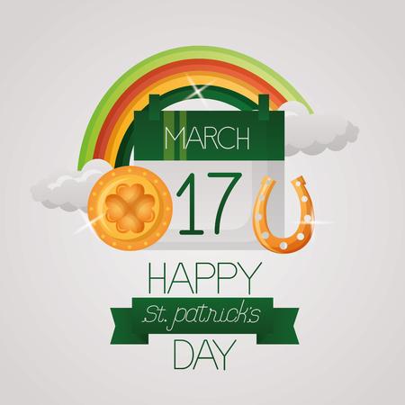 calendar rainbow coin horseshoe st patricks day vector illustration