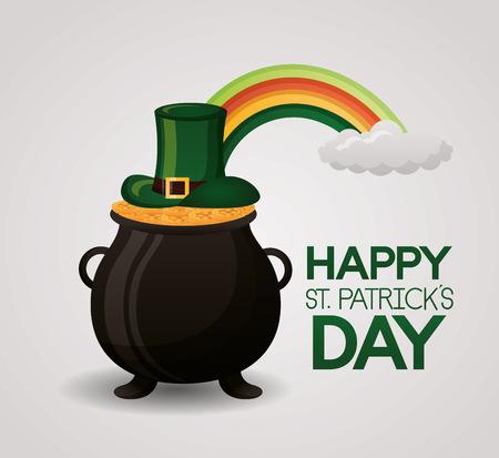 pot coins hat and rainbow happy st patricks day vector illustration Illustration