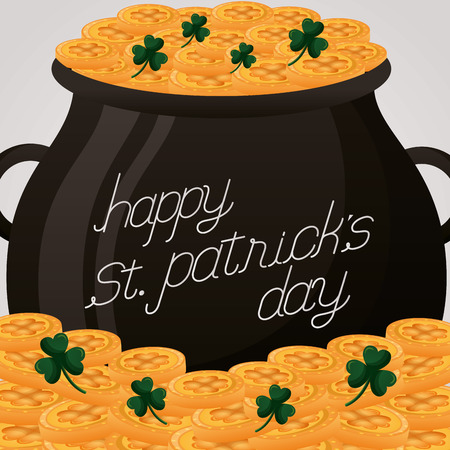 pot coins hat and rainbow happy st patricks day vector illustration Stock Vector - 117814044