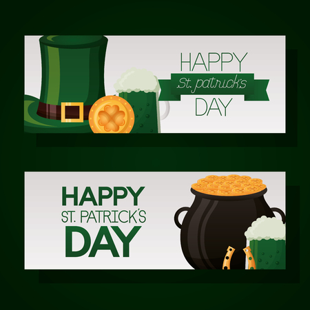 pot coins hat and rainbow happy st patricks day vector illustration Ilustracja
