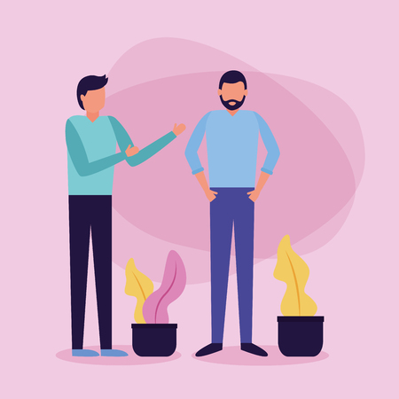 two men talking plant in pot vector illustration