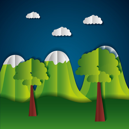 mountains and trees paper origami landscape vector illustration  イラスト・ベクター素材