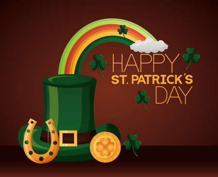 green hat rainbow coin and horseshoe happy st patricks day vector illustration
