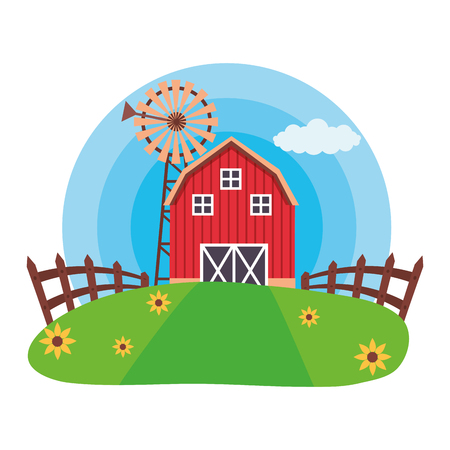 barn windmill fence meadow farm fresh vector illustration