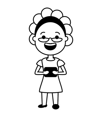 elderly woman with mobile tech device vector illustration black and white