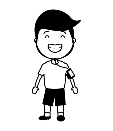sport boy with wearable tech device vector illustration black and white Ilustração