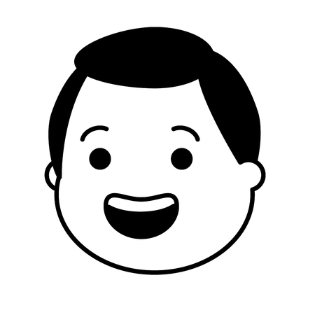 smiling man face on white background vector illustration black and white Illustration