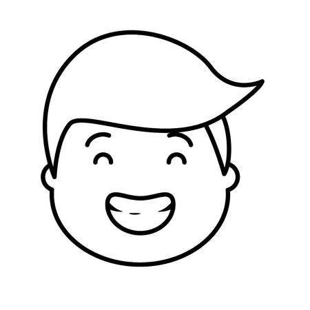 smiling man face on white background vector illustration black and white Illustration