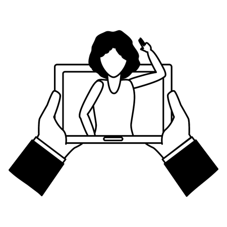 hands with tablet woman video chat tech device vector illustration black and white