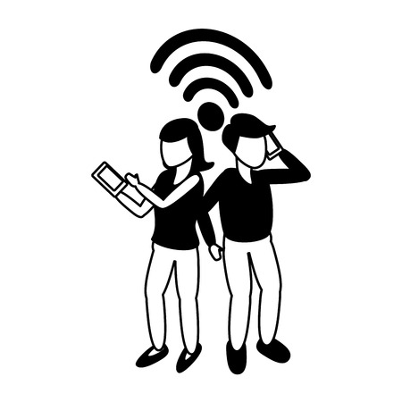 man and woman talking cellphone tech internet vector illustration black and white