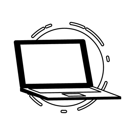 laptop computer tech device icon vector illustration black and white Stock Vector - 124866063
