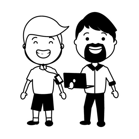 man using laptop and young heaphones tech vector illustration black and white Illustration