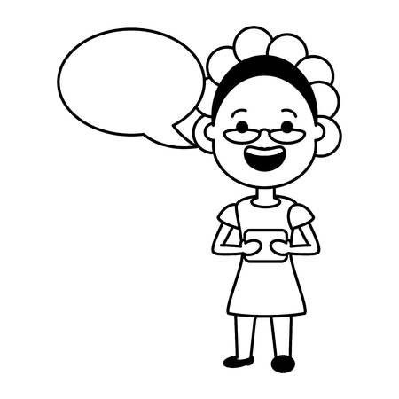 elderly woman with mobile tech speech bubble vector illustration black and white